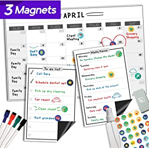 Magnetic Dry Erase Whiteboard Calendar - 11x17 Inches - Large Premium Reusable Board for Refrigerator - Weekly Kitchen Fridge Planner & Organizer