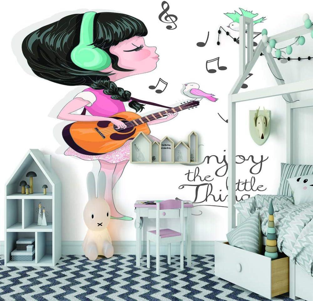 Papel Pintado Pared Niña Guitarra Vista 3D Sala Living Oficina ...