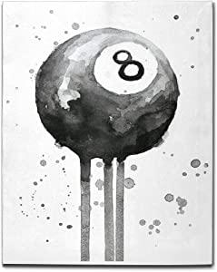 """Joinfine Pool Ball 8 Ball Billiards Canvas Decor Wall Art for Bedroom, Wall Decor for Home Kitchen Office Bathroom, Modern Artwork Picture on Canvas Wooden Ready to Hang, 16""""x20"""""""