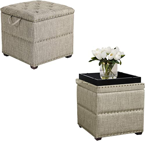 Adeco Euro Style Fabric Arm Bench Chair Footstool Cubic Ottomans