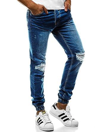 fb547c4745f67c OZONEE Mix Herren Hose Jeanshose Straight-Cut Freizeithose Clubwear  Slim-Fit Täglichen Modern Sportswear OT 2044S  Amazon.de  Bekleidung