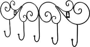 MyGift Scrollwork Metal Wall-Mounted Hook Rail, Garment Hanger Organizer Rack w/ 5 Coat Hooks