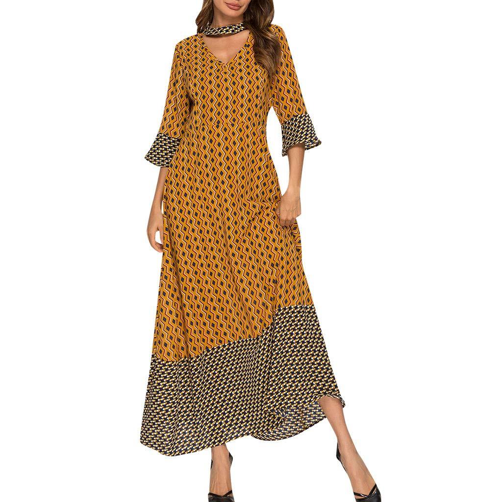 Women's Vintage Geometric Half Sleeve Ladies V-Neck Ankle-Length Dress Yellow