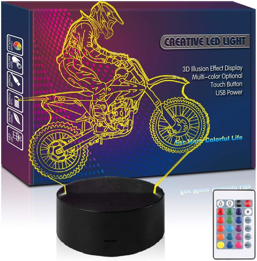 HIPIYA Dirt Bike Remote Control LED 3D Illusion Night Light Motocycle USB Lamp Moto Toys Present Birthday Gift for Little Kid Boy Men Player Fan Bedroom Decoration Room Nursery Decor (Motobike RC)