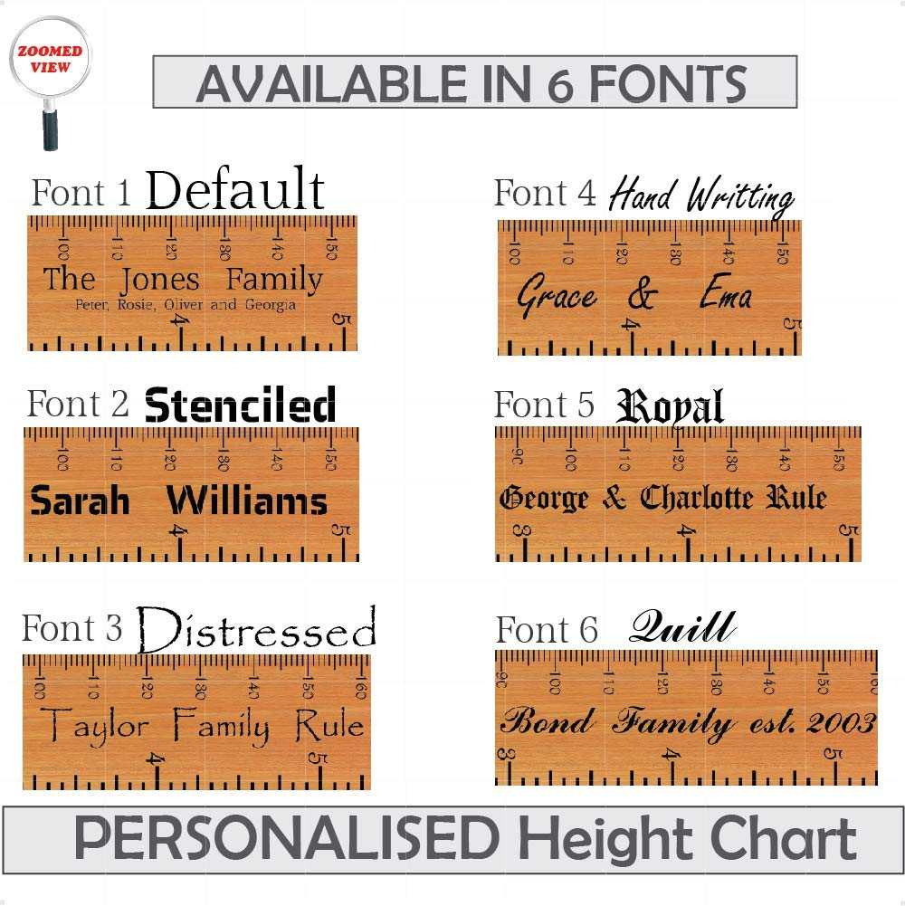 Height Ruler Wooden Print Personalised Height Chart Wall Stickers Decal Vinyl Growth Chart for Height Measure StickersMagic