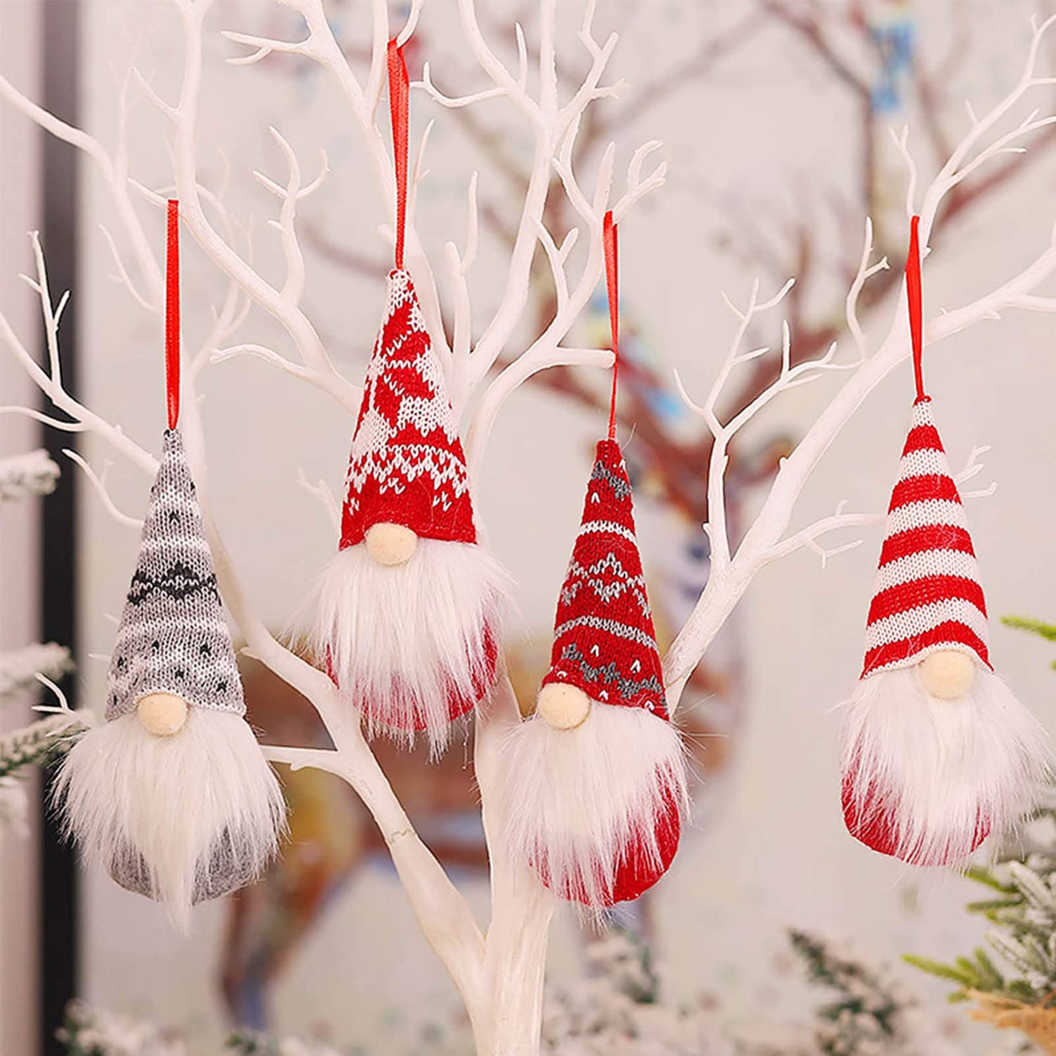 CosyFamily 4 Pack Christmas Tree Hanging Gnomes Ornaments Set - Xmas Hanging Decorations Gnome Hat for Christmas Tree Fireplace Home Decor