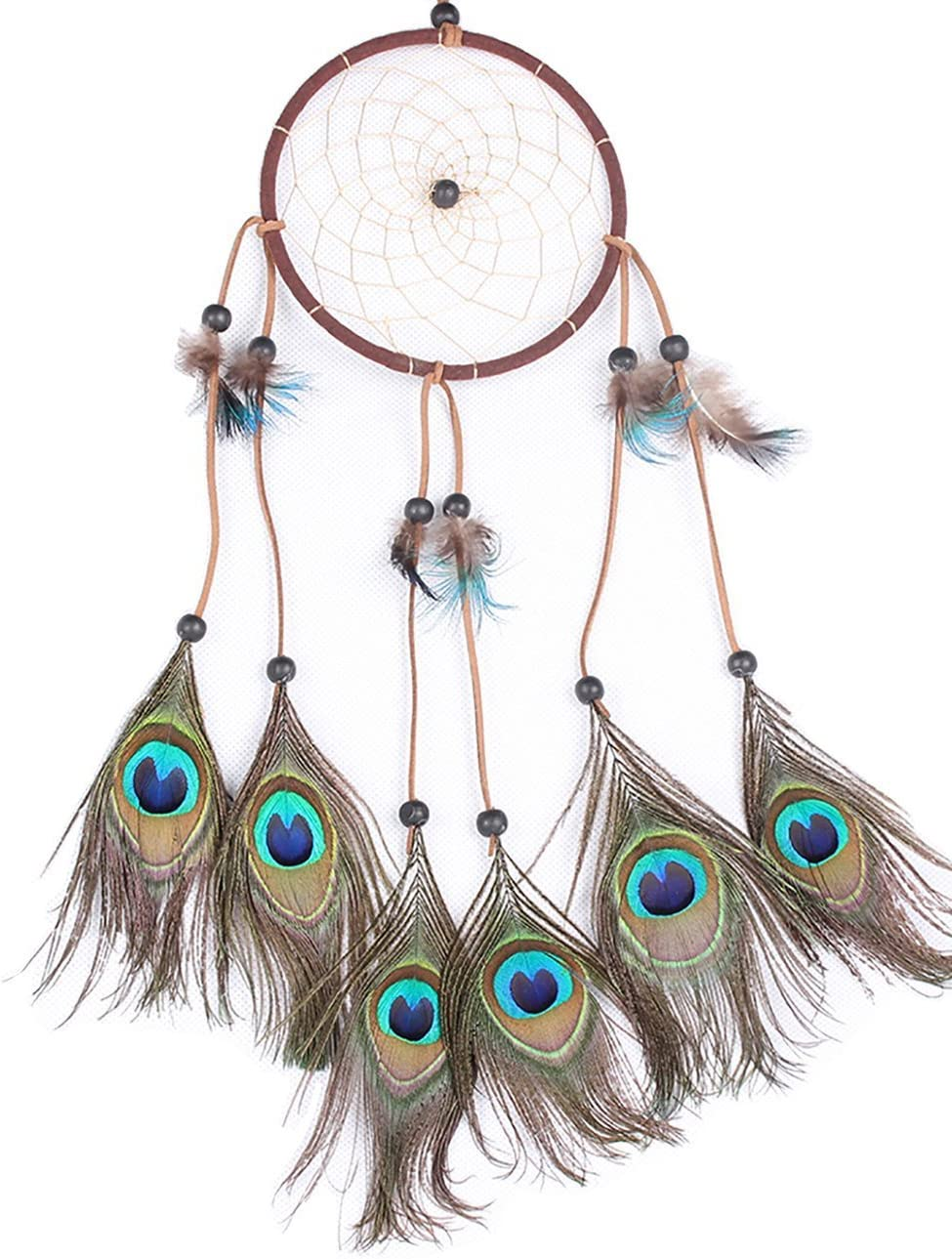 LBTOEM Handmade Dream Catcher Peacock Feather Dreamcatcher Indian Tradition Circular Net for Car Kids Bed Room Wall Hanging Decoration Decor Ornament Craft Gift