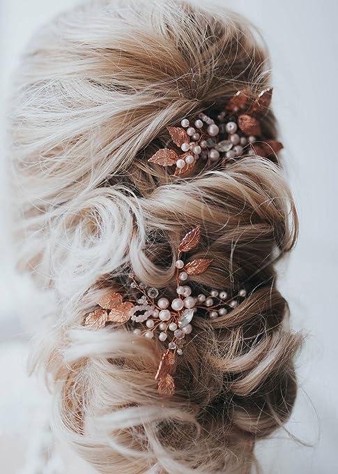 Gracewedding Brautschmuck, Roségold Kristall Haarnadeln für Damen, Kopfschmuck für Hochzeiten, Haar Accessories, Braut Haarschmuck, Vintage Schmuck