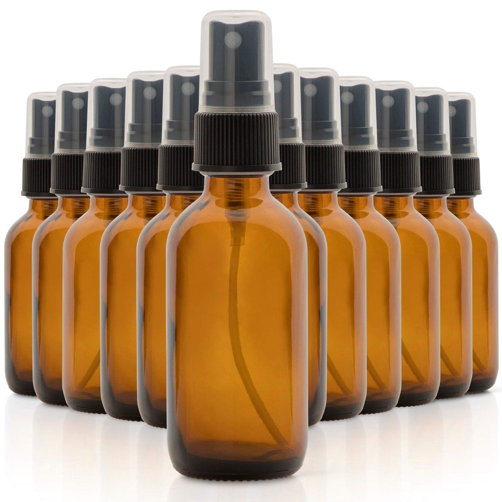 Quality Set of 12, 2 oz Amber Glass Spray Bottles for Essential Oils and Perfumes #PHAS by Bright Sun