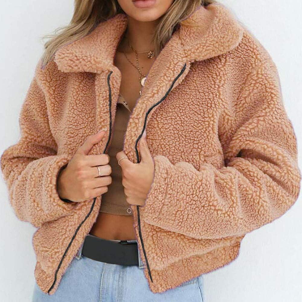 FIRERO Womens Winter Warm Artificial Wool Coat Zipper Jacket Ladies Parka Outerwear
