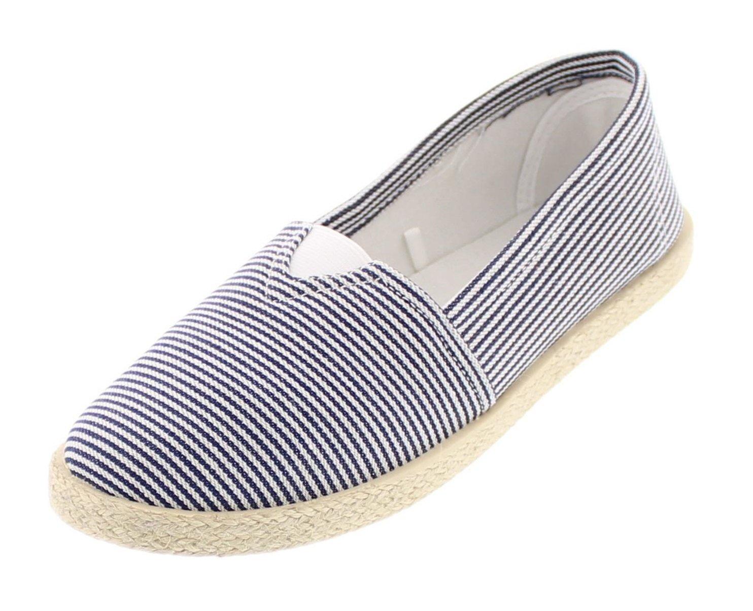 Gold Toe Women's Delphie Canvas Alpargatas Espadrille Flat Casual Summer Style Comfy Slip On Walking Shoe B077RJHGBX 10 B(M) US|Navy