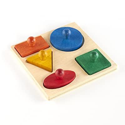 Guidecraft Geometric Colorful Puzzle Board - 5 Shapes: Kids Early Learning Educational and Development Toy: Toys & Games [5Bkhe0402156]