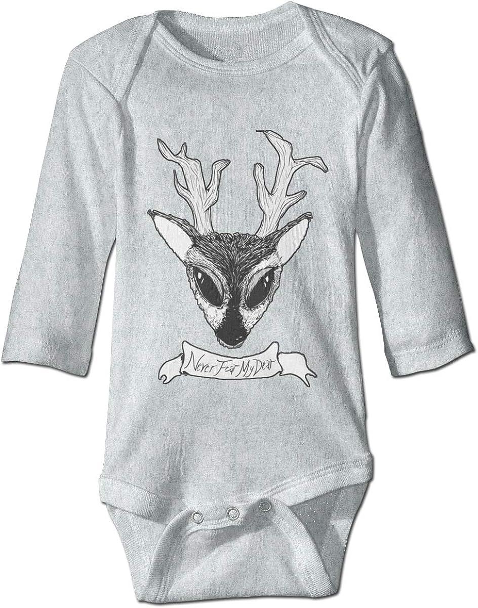 Marsherun Babys Boys and Girls Deer Never Fear My Dear Long Sleeve Bodysuit Playsuit