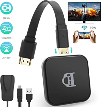 TedGem WiFi Display Dongle, 2.4G 5G HDMI Inalámbrico 1080P TV Dongle, WiFi Inalambrico, Airplay Dongle WiFi TV Soporte Windows 8.1 / Android 4.2: Amazon.es: Electrónica
