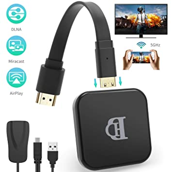 TedGem WiFi Display Dongle, 2.4G 5G HDMI Inalámbrico 1080P TV Dongle, WiFi Inalambrico, Airplay Dongle WiFi TV Soporte Windows 8.1 / Android 4.2