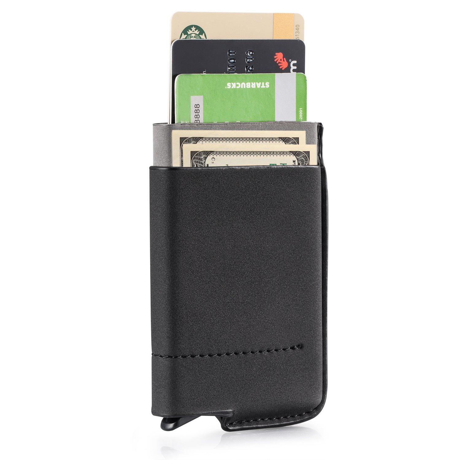 RFID Blocking Wallet Pop-out Card Holder (6) Slim Design with Side Pockets