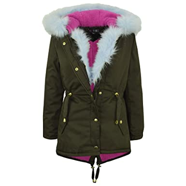 75fd508e7 Kids Hooded Jacket Girls Fur Parka Jackets - Blue Fur - 5-6 Years ...