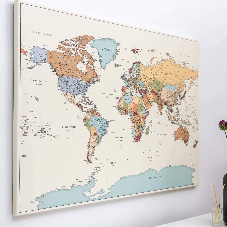 Cartina Mondo Da Parete.Dettagliato Cartina Geografica Del Mondo Con Puntine Diario Di Viaggio Planisfero Da Parete 3 Dimensioni Media Grande Gigante Stampa Su Tela Escuelasoulsurf Cl