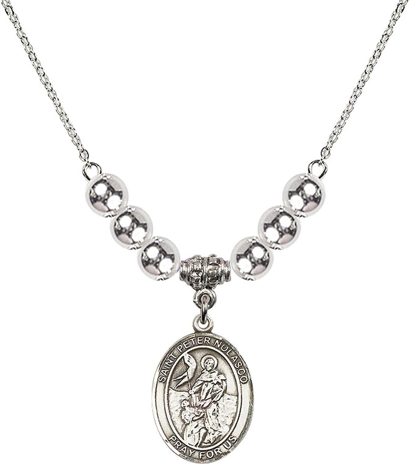 Bonyak Jewelry 18 Inch Rhodium Plated Necklace w// 6mm Sterling Silver Beads and Saint Peter Nolasco Charm