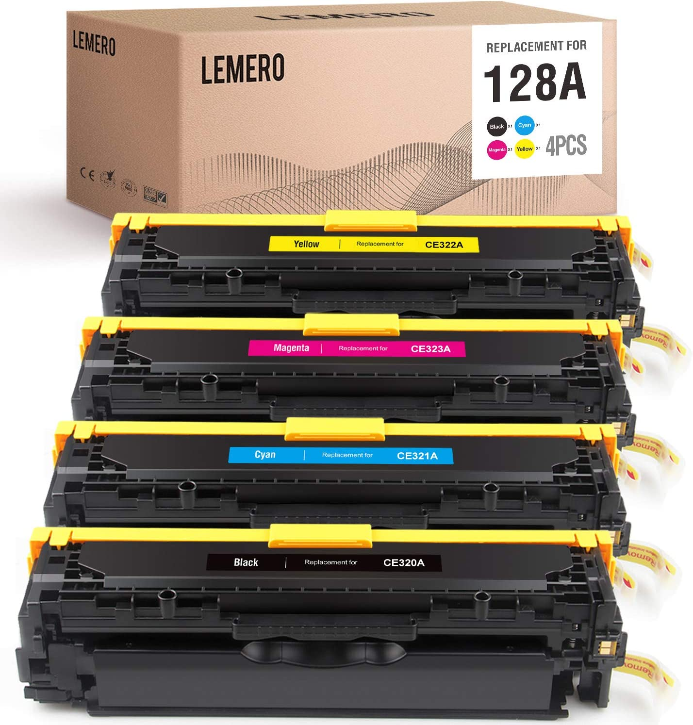 LEMERO Remanufactured Toner Cartridge Replacement for HP 128A CE320A CE321A CE322A CE323A to use with Laserjet Pro CP1525nw CM1415fn CM1415fnw MFP (Black, Cyan, Magenta, Yellow, 4-Pack)