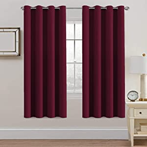 "H.Versailtex Thermal Insulated Blackout Curtains - Antique Copper Grommet Top Window Drapes - Burgundy- 52"" W x 72"" L - (Set of 2 Panels)"