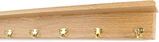 """product image for PegandRail Oak Shelf Coat Rack with Solid Brass Single Style Hooks (Natural, 26"""" with 5 Hooks)"""