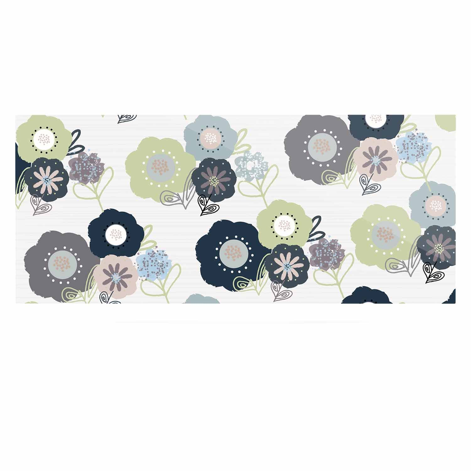 24 x 36 Kess InHouse Jolene Heckman Floral Bunches Blue Green Luxe Rectangle Panel