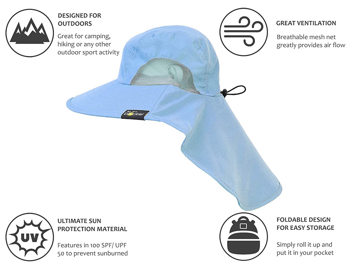 Safari Sun Hats for Women Fishing Hiking Cap with Neck Flap Wide Brim Hat  Blue at Amazon Women s Clothing store  66f3198a86b2
