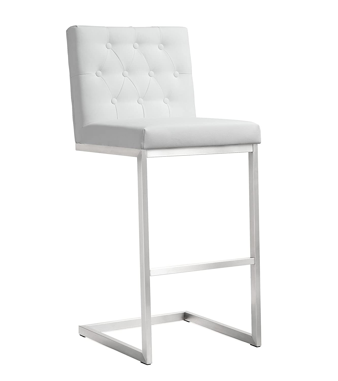 Tov Furniture The Helsinki Collection Modern Style Eco-Leather Upholstered Stainless Steel Barstool Set of 2 , White