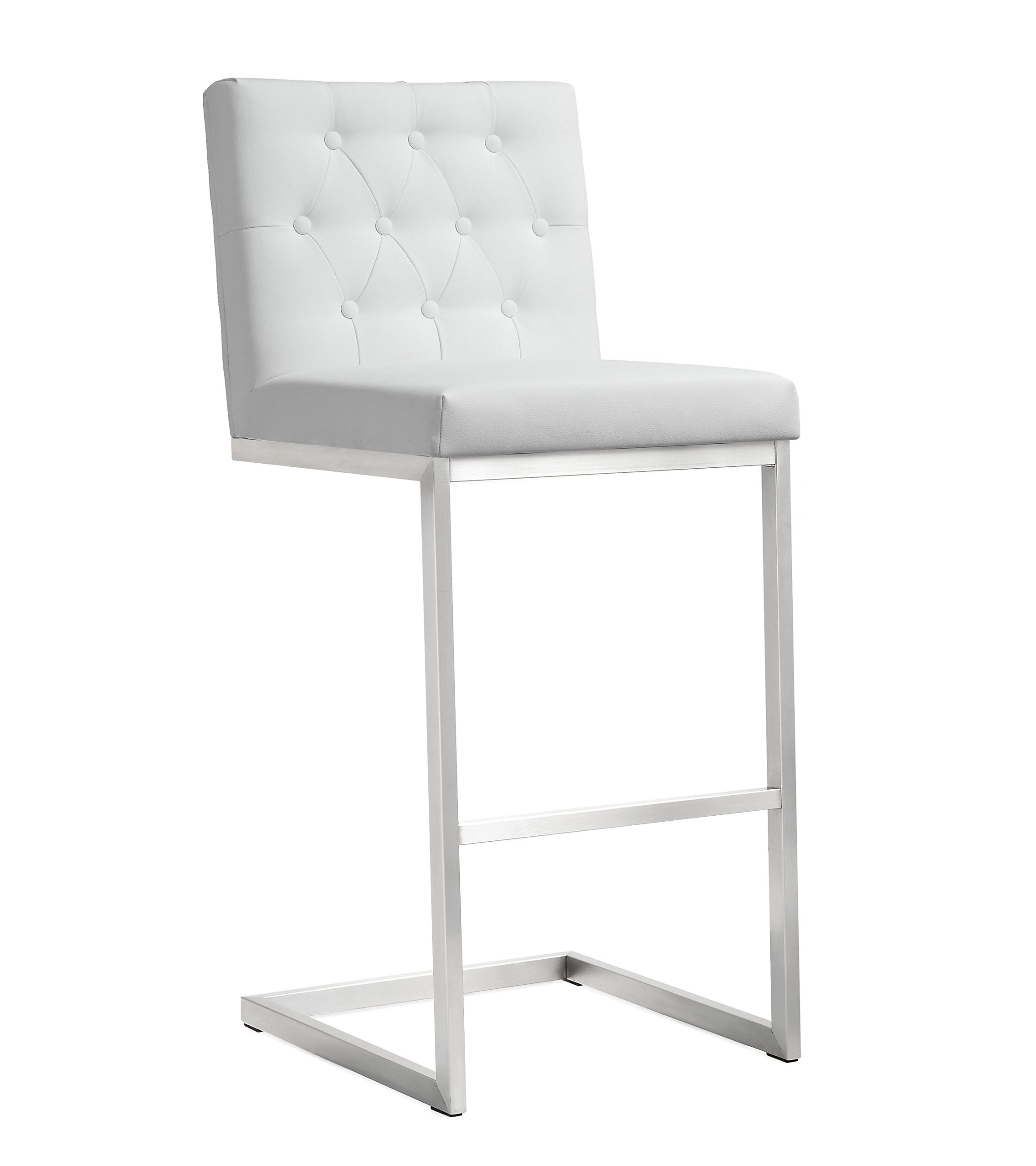 Tov Furniture The Helsinki Collection Modern Style Eco-Leather Upholstered Stainless Steel Barstool (Set of 2), White by Tov Furniture