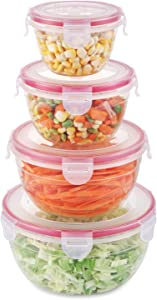 SHOMOTE Food Storage Containers with Lids Airtight, Freezer Containers for Lunch BPA Free, Plastic Stackable Kitchen Storage Containers for Food, Microwave & Dishwasher Safe, Set of 4