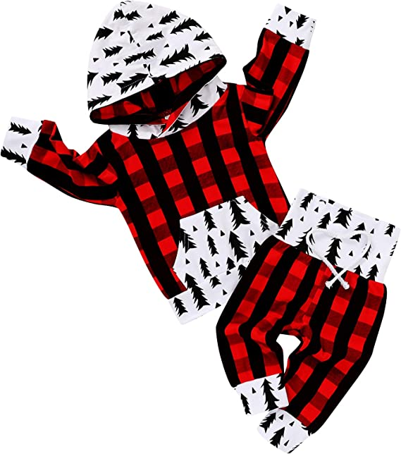 unisex christmas hoodie trendy baby clothes baby gift baby buffalo plaid hoodie toddler red and black plaid hooded shirt