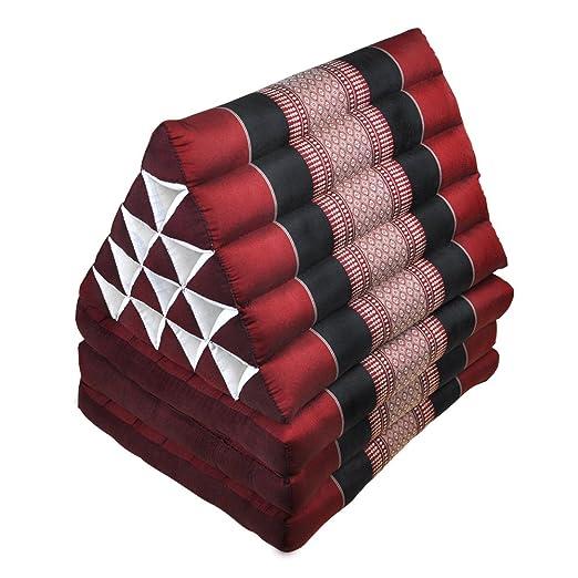 Cojín triangular, alfombra tailandesa, esterilla, rojo-negro ...