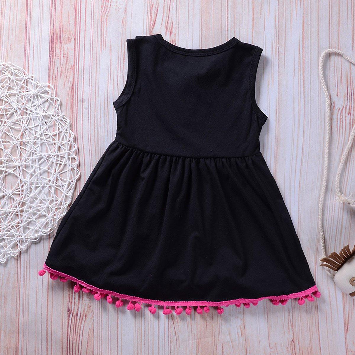 Toddler Baby Girls Sleeveless Ruffle Shirt Dress Tops with Pompom Tassels