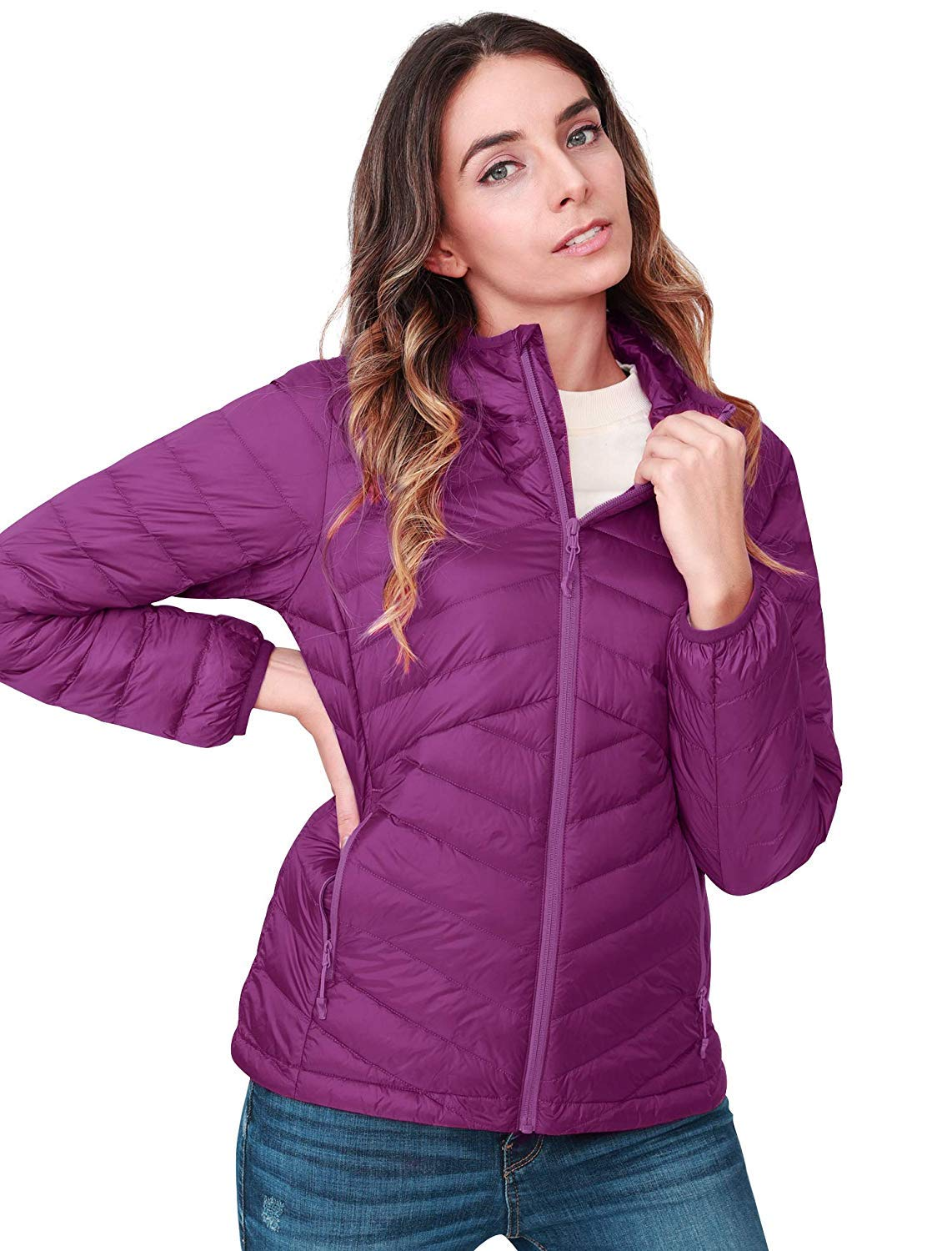 CAMEL CROWN Womens Down Jacket Lightweight Packable Hooded Windproof Winter Warm Quilted Coat Full-Zip Insulated Coat with Pocket for Leisure Sports Travel Outdoor Black Purple