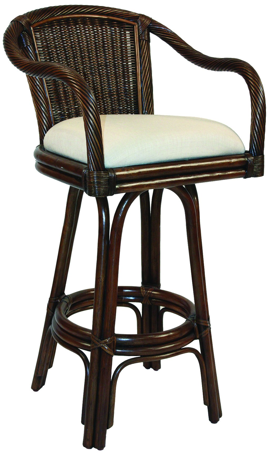 Hospitality Rattan 102-6101-ATQ-C Key West Indoor Swivel Rattan & Wicker Counter Stool, 24'', Sunbrella Canvas Spa