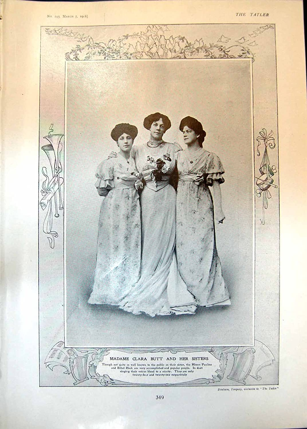 Old Print Clara Butt Sisters Pauline Ethel Hook Trolly Cables 1906 349Q019 old-print Q0191906349