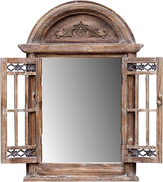 Fensterläden Bilderrahmen shabby weiß Spiegelfenster Spiegel 64CM Deko Spiegel