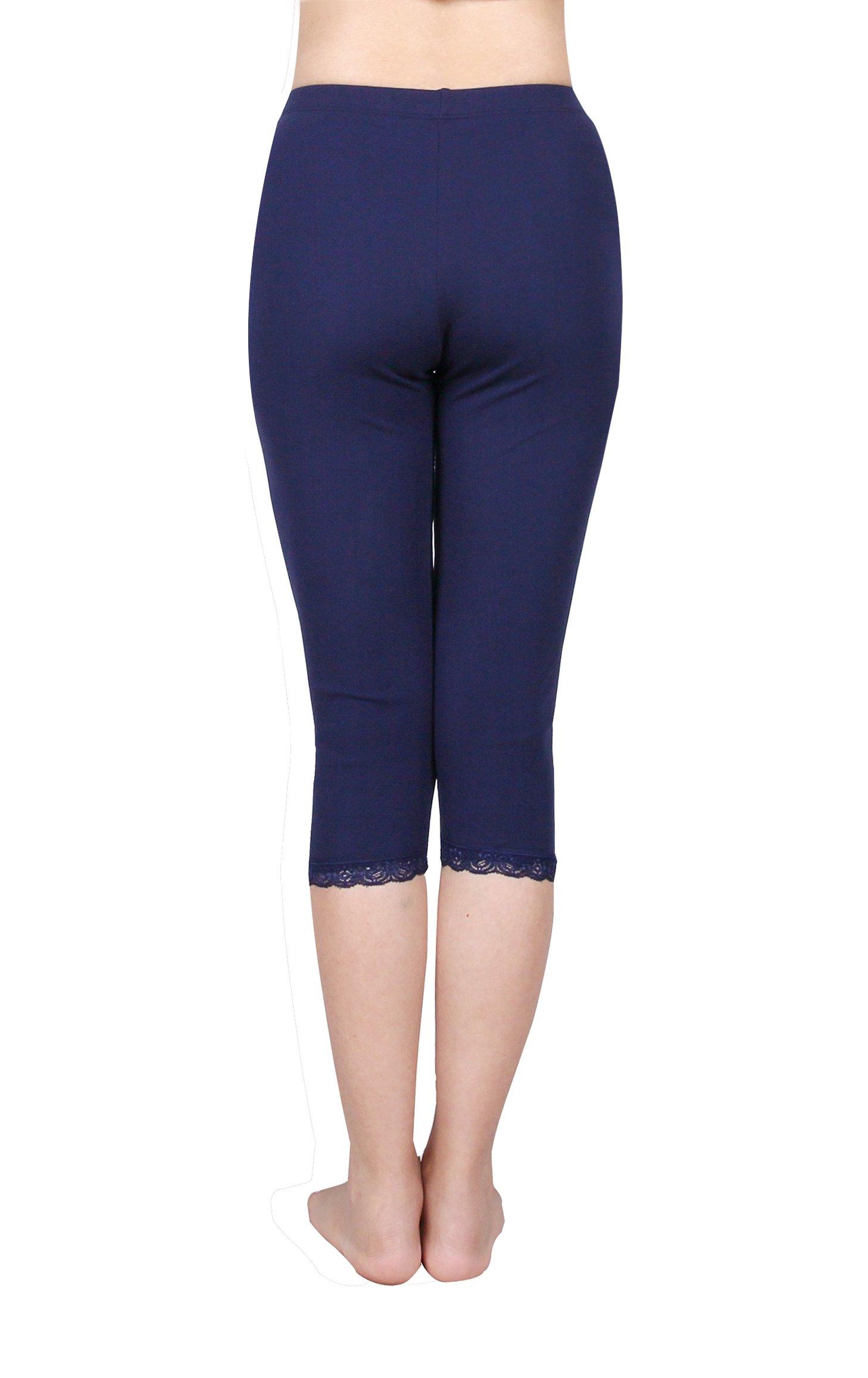 IRELIA 2 Pack Cotton Girls Leggings Capri with Lace Trim Pant Size 6-16 03 M by IRELIA (Image #4)