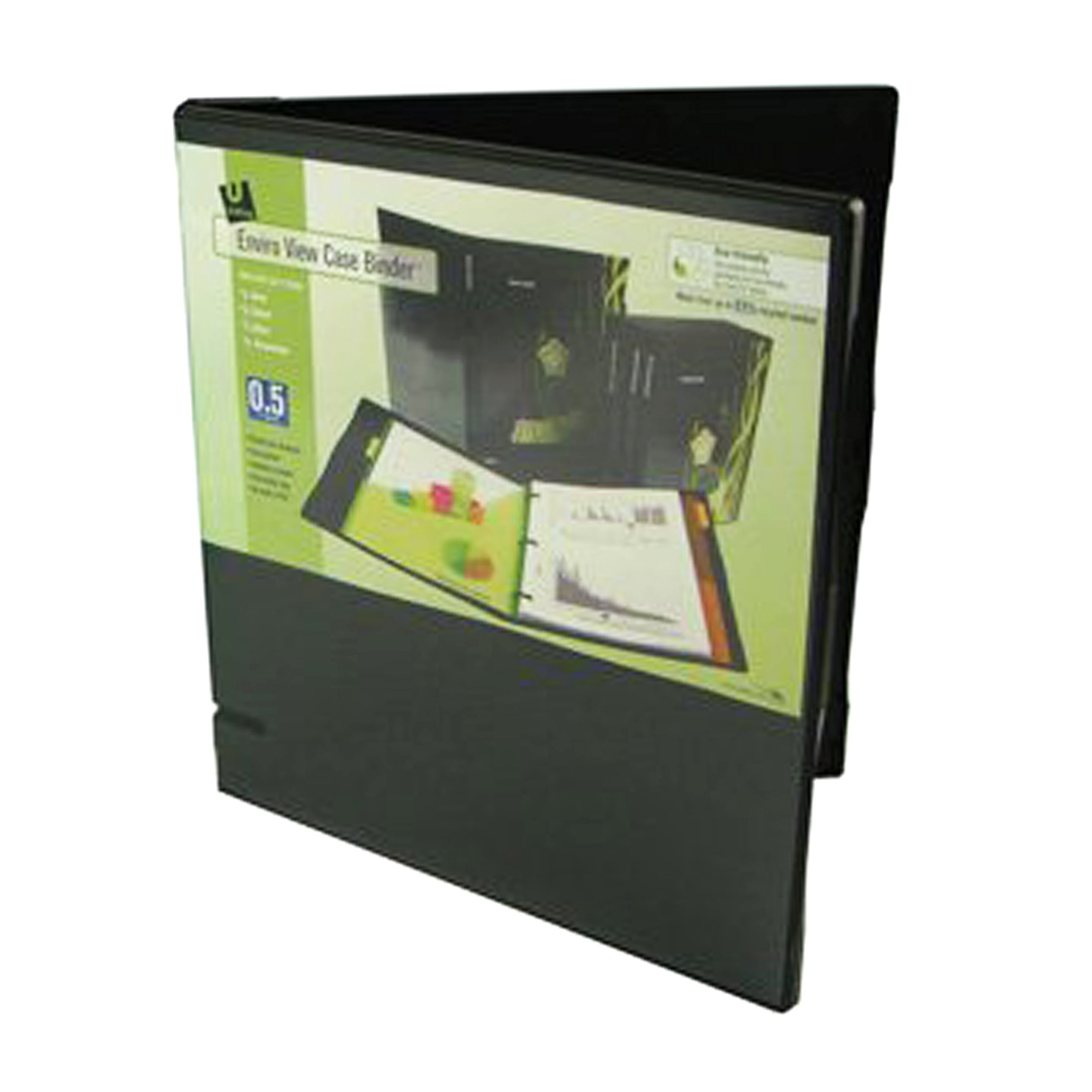 UniKeep 3 Ring Binder - Black - Fully Enclosed View Binder - 0.5 Inch Spine - With Clear Outer Overlay - Box of 36 Binders