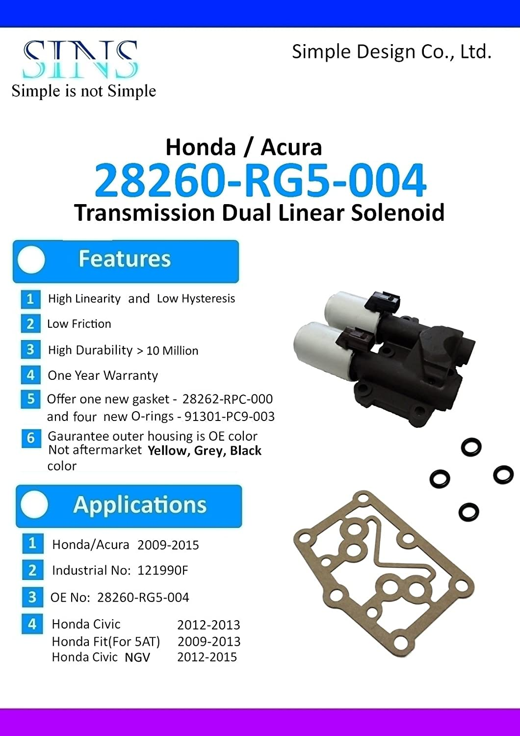 SINS Civic Fit Jazz Transmission AT Clutch Pressure Control Solenoid Valve B and C 28260-RG5-004-Casting