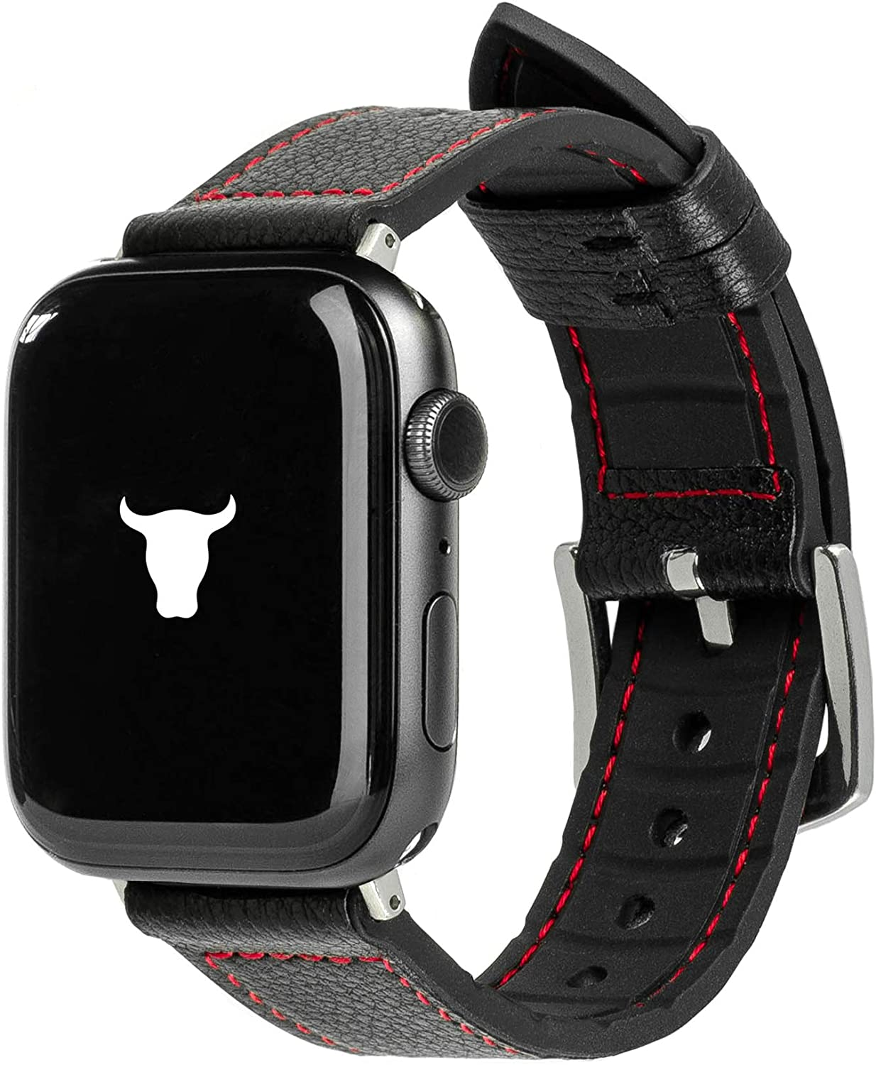 TORRO Leather Watch Strap Compatible with Apple Watch with Brushed Silver Connector and Buckle (Black Silicone with Black Leather and Red Detail for 42mm / 44mm Apple Watch)