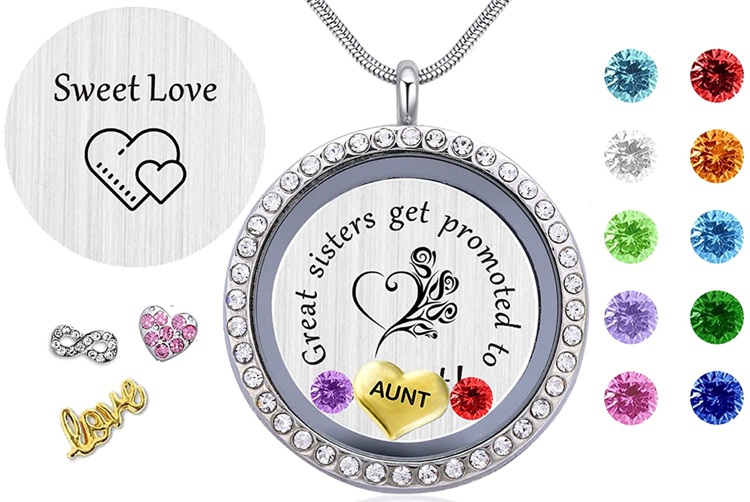 Beffy Gifts for Nieces Aunt, Women Girl's Floating Living Memory Locket Necklace Pendant with Charm Birthstone White Gold Plated Gift from Aunt