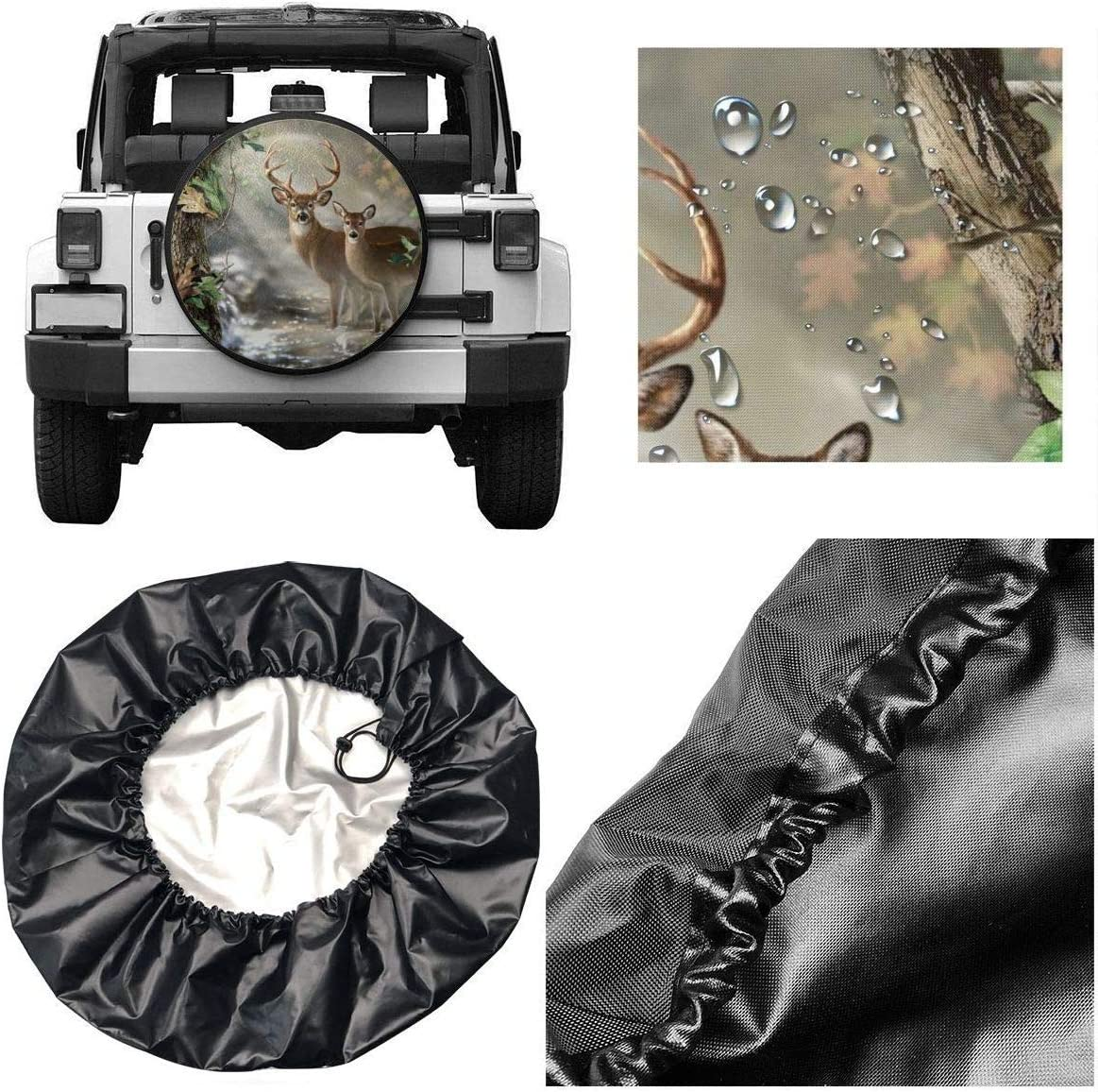 Kejbr Couverture de Pneu Real Tree Camouflage Deer Classic Housse de Roue de Secours for Jeep SUV RVs Universal Fit 14-17 in