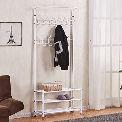 Amazon.com: Wall-Mounted Q Simple Hall Coat Rack Shoe Rack ...