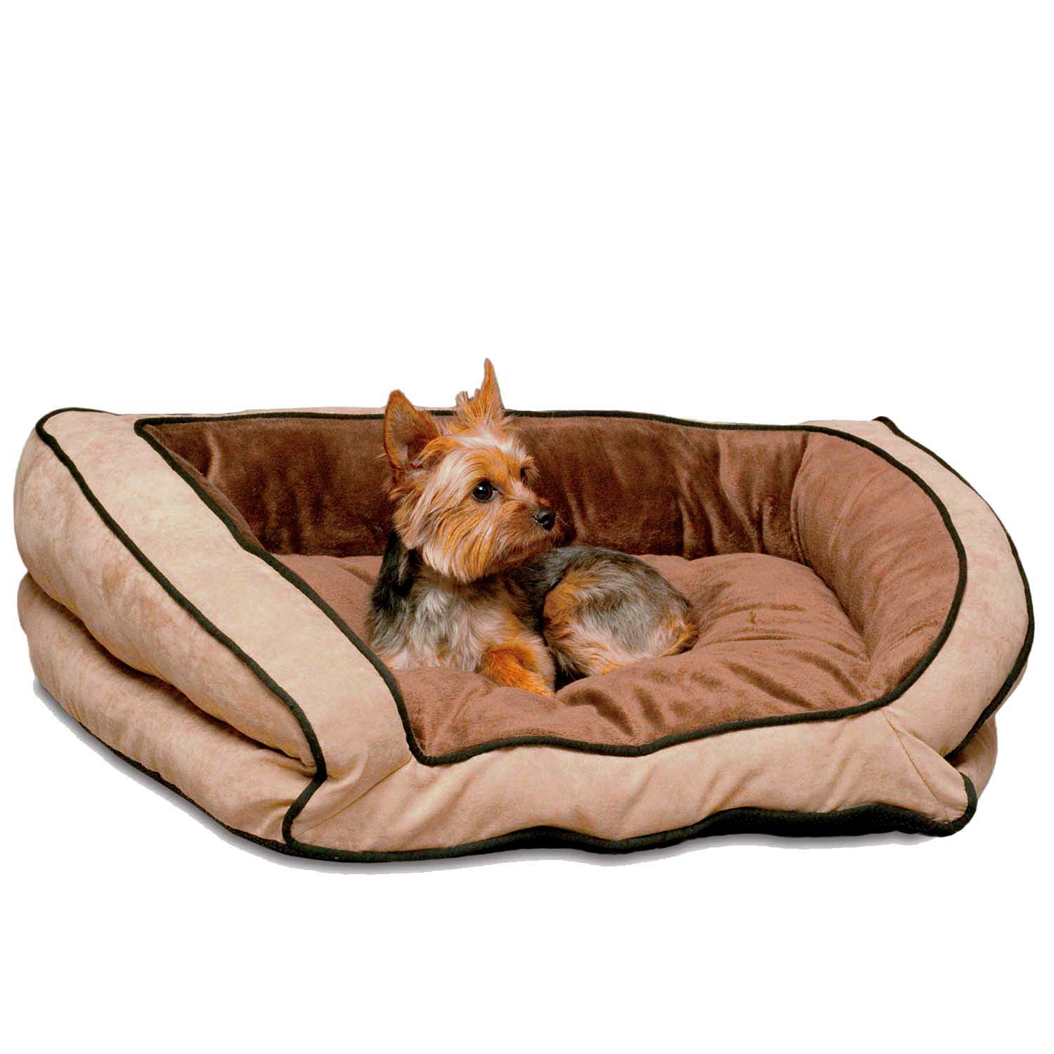 Small 21-Inch by 30-Inch K&H Manufacturing Bolster Couch Pet Bed, Small 21-Inch by 30-Inch, Mocha Tan