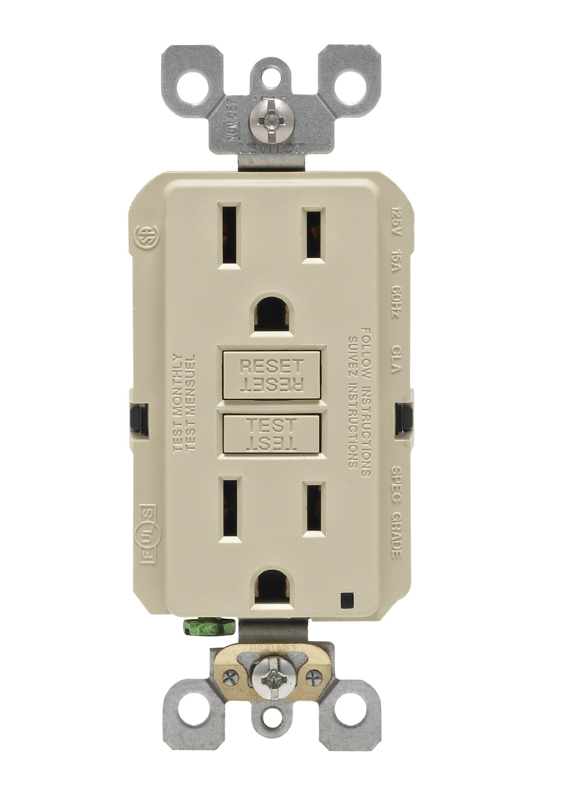 Leviton N7599-I 15-Amp 125-Volt SmartLock Pro Slim Non-Tamper-Resistant Duplex GFCI Receptacle, Ivory