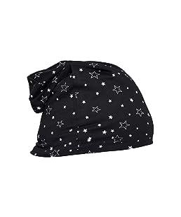Vimal Jonney Black Printed Cotton Blended Free Size Beanie Cap For Men
