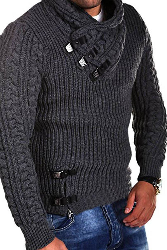 Taoliyuan Mens Knit Slim Fit Pullover Sweater Shawl Collar with Three Button Point