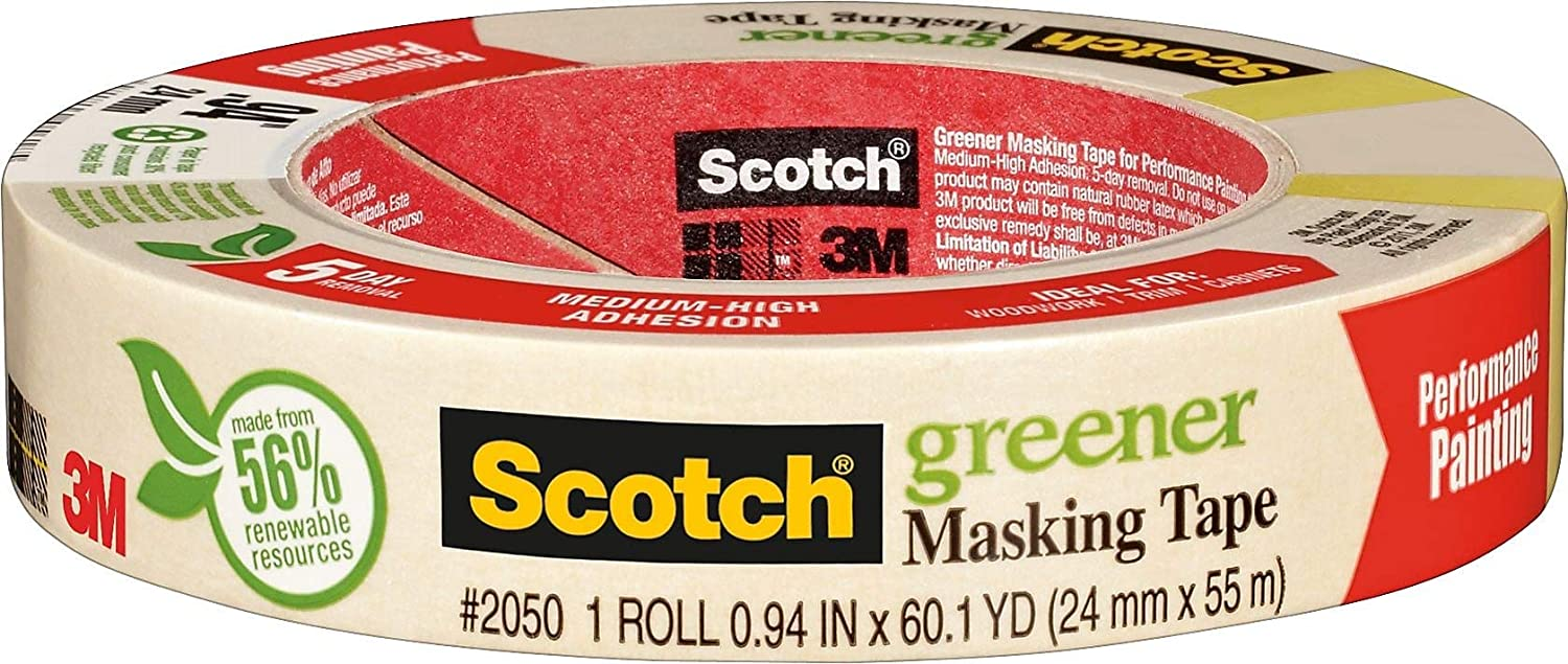 Scotch Greener Masking Tape, 0.94 in x 60 yd, 2050, 1 Roll - -